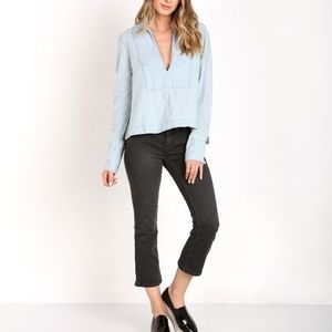 FREE PEOPLE Ready or Not Chambray Top L